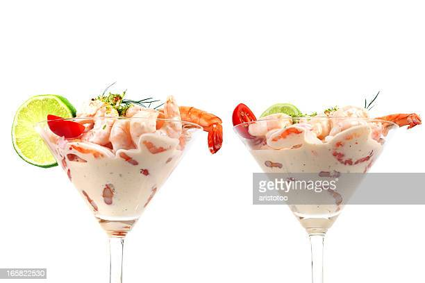 Two Shrimp Cocktails Isolated on White