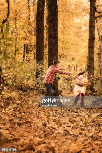 two siblings play hide and seek in the forest on an autumn day, indiana, usa - kids playing tag stock photos and pictures