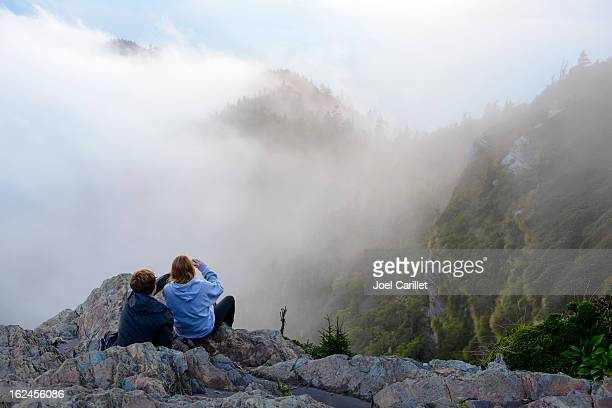 dois irmãos juntos em mt. leconte em great smoky mountains - parque nacional das great smoky mountains - fotografias e filmes do acervo
