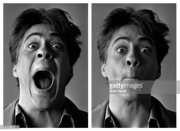 Two sidebyside portraits of American actor Robert Downey Jr as he makes funny faces New York New York 1986