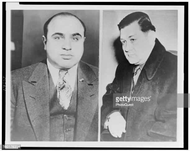 Two sidebyside portraits of American gangsters Al Capone and Bugs Moran early twentieth century