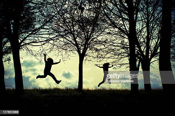 two silhouettes jumping joyfully in forest - catherine macbride stock pictures, royalty-free photos & images