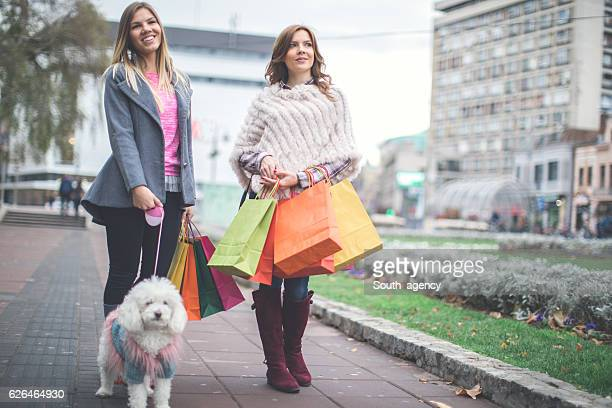 Two sisters returning from autumn shopping