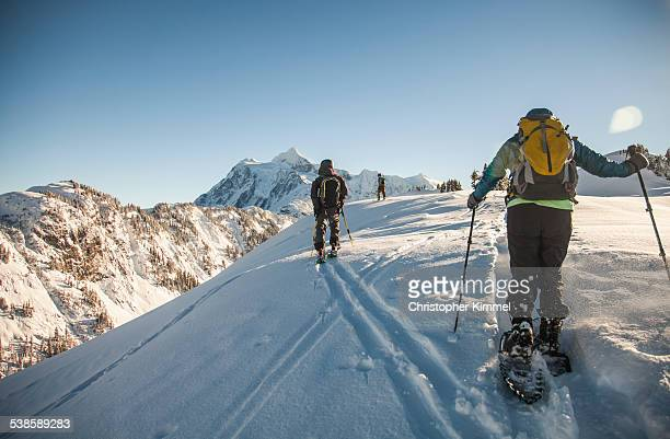 Two skiers and a snowshoer explore a winter wonderland.