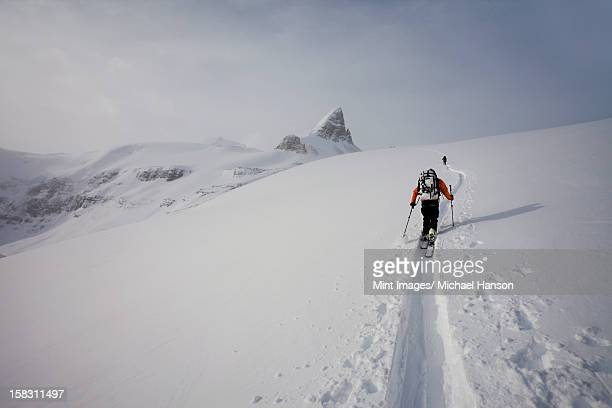 two skiers ascending a ridge in mist and cloud conditions on the wapta traverse, a mountain hut to hut ski tour in alberta, canada. - snowfield stock pictures, royalty-free photos & images