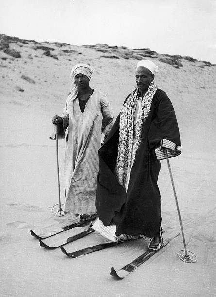Skiers On The Sand In Egypt In 1939