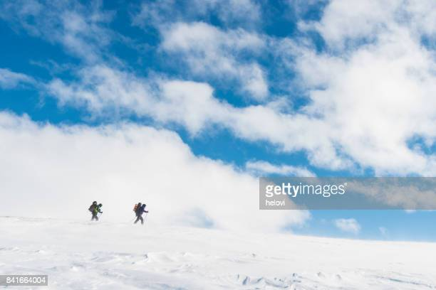 two skiers on hardangervidda - telemark stock pictures, royalty-free photos & images