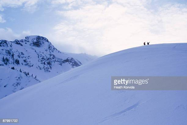 Two skiers survey the terrain.