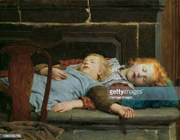 Two sleeping girls on the stove bench 1895 Found in the Collection of Kunsthaus Zürich