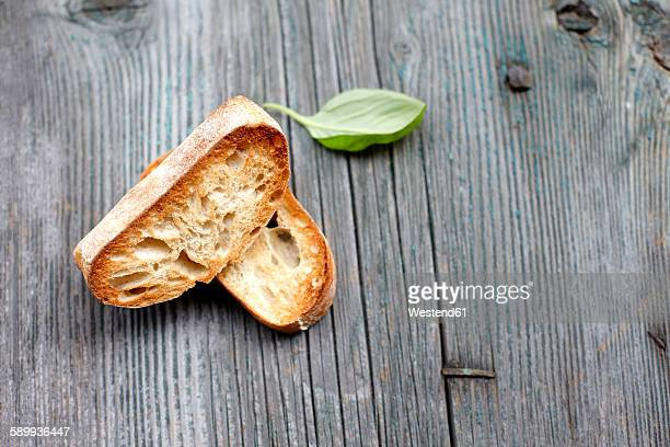 Two slices of roasted ciabatta
