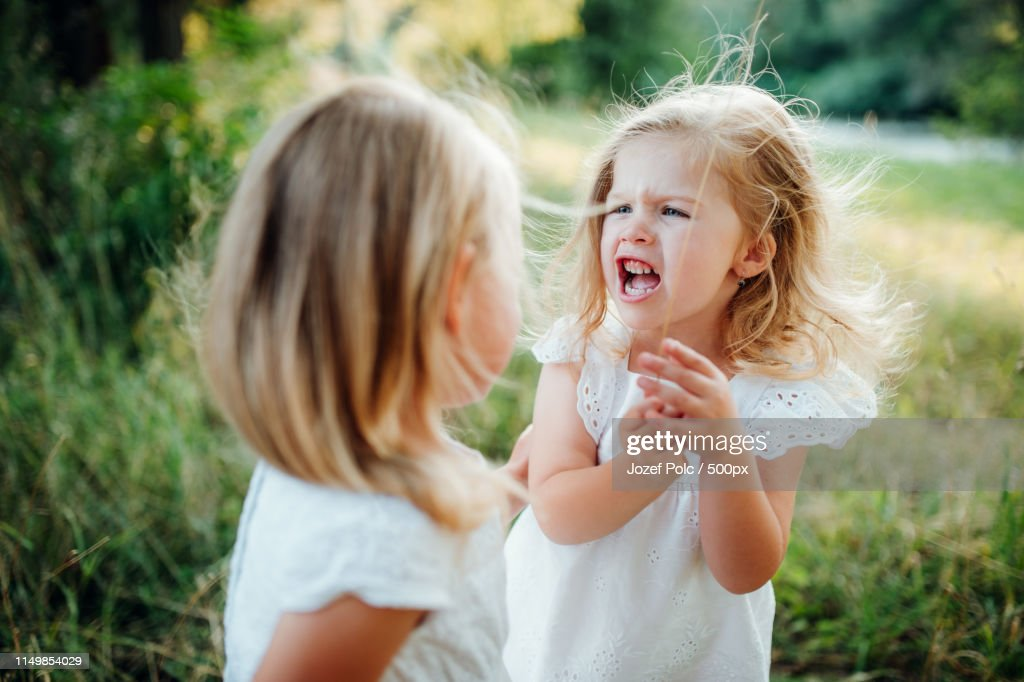Two Small Angry Girl Friends Or Sister Outdoors In Sunny Summer Nature, Arguing : Stock Photo