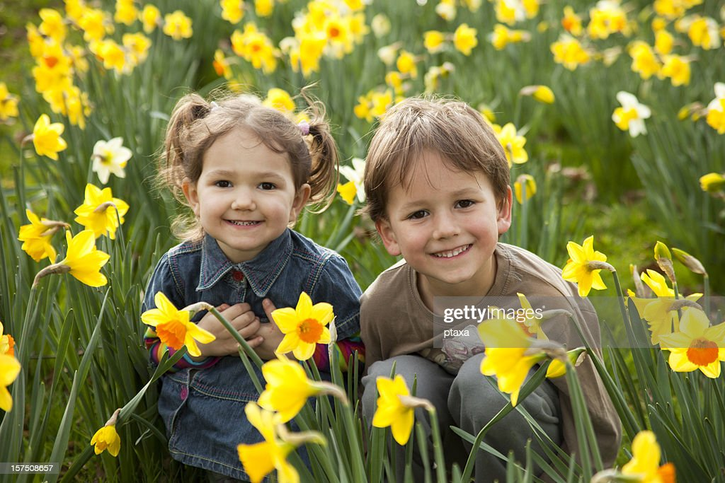 Two small children smiling in a field of daffodils : Stock Photo