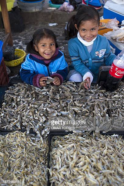 Two small girls grin as they offer dried white charal fish at the small market of Cuitzeo lagoon Michoacan state Mexico on January 4 2012 Fish trade...