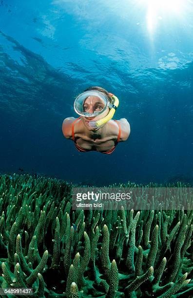 Two snorkeling girls, Bali, Indian Ocean, Indonesia