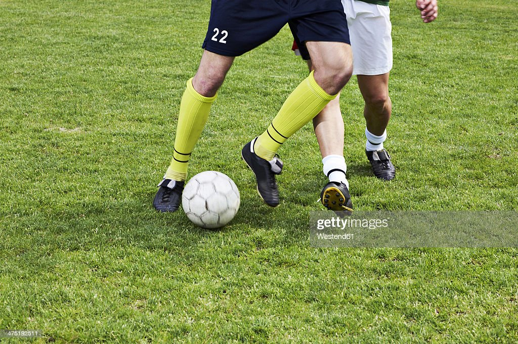 Two soccer players on field : Stock Photo