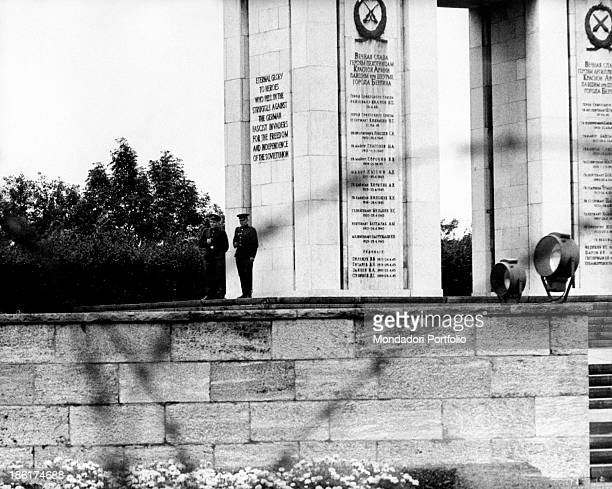 Two soldiers guarding the Soviet War Memorial in the Strasse des 17 Juni West Berlin August 1961