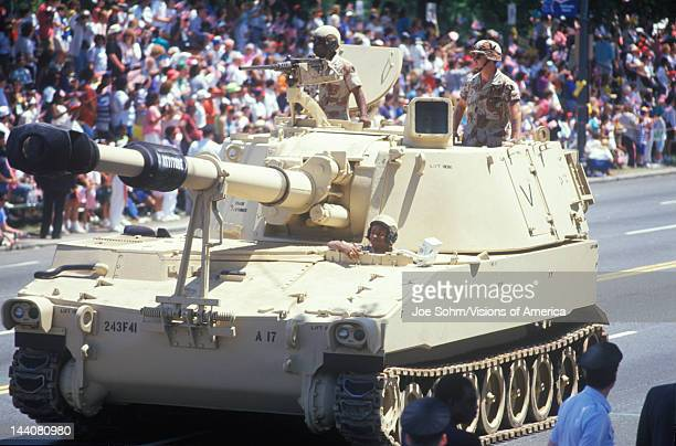 Two Soldiers in Military Tank, Desert Storm Victory Parade, Washington, DC