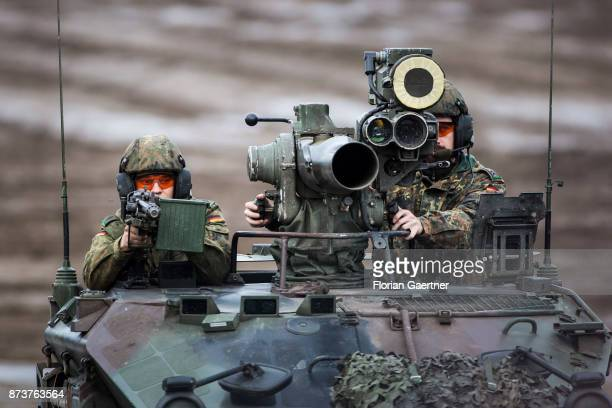 Two soldiers on the weapon carrier 'Wiesel' with TOW anti-tank guided weapon. Shot during an exercise of the land forces on October 13, 2017 in...