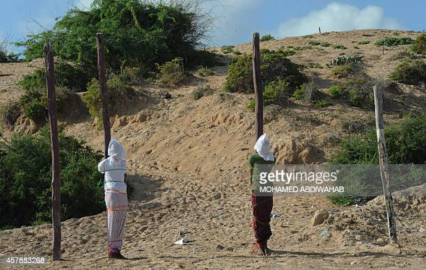Two Somali men convicted of murdering a journalist and a security official are tied to large wooden posts before being executed in public by firing...