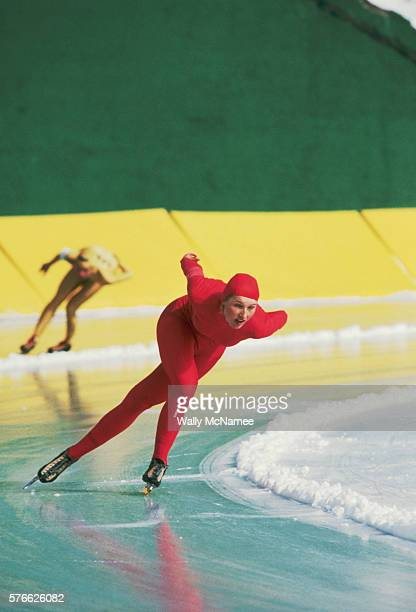 Two speed skaters compete in the 1980 Winter Olympic Games