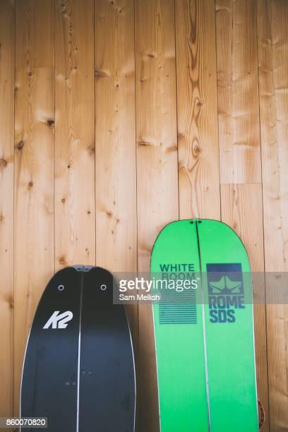 Two splitboards outside Refuge De Bostan in the Vallée de la Manche in Morzine / Portes du Soleil ski area on 22nd March 2017 in France