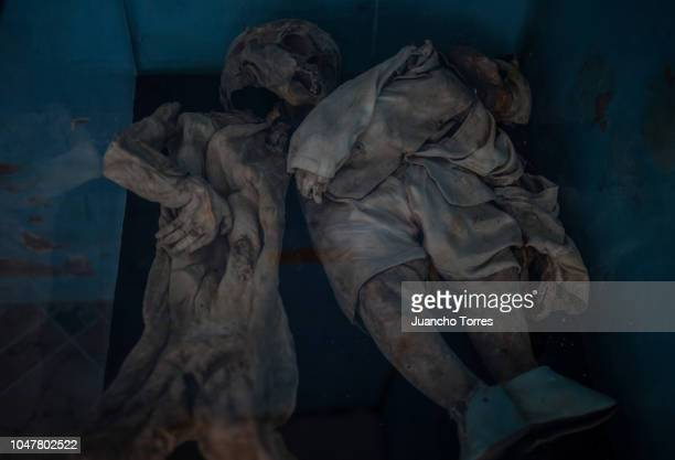 Two spontaneously mummified bodies of children are displayed at the San Bernardo cemetery on September 30 2018 in Cundinamarca Colombia The...