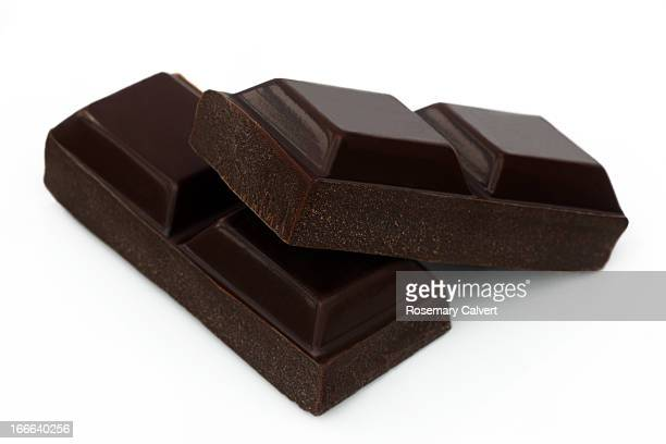 Two squares of dark chocolate