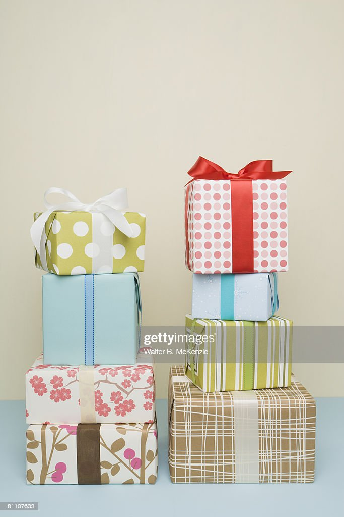 Two stacks of gift wrapped boxes studio shot stock photo getty images two stacks of gift wrapped boxes studio shot stock photo negle Image collections