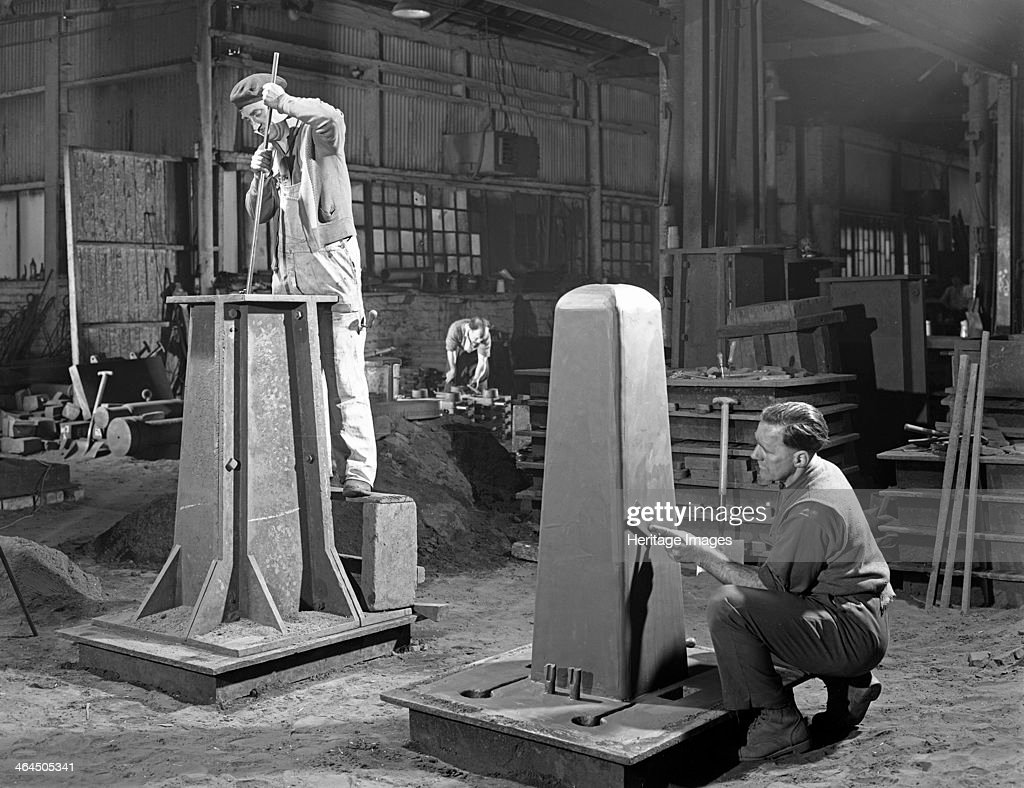 Two stages of moulding a steel casting, Rotherham, South