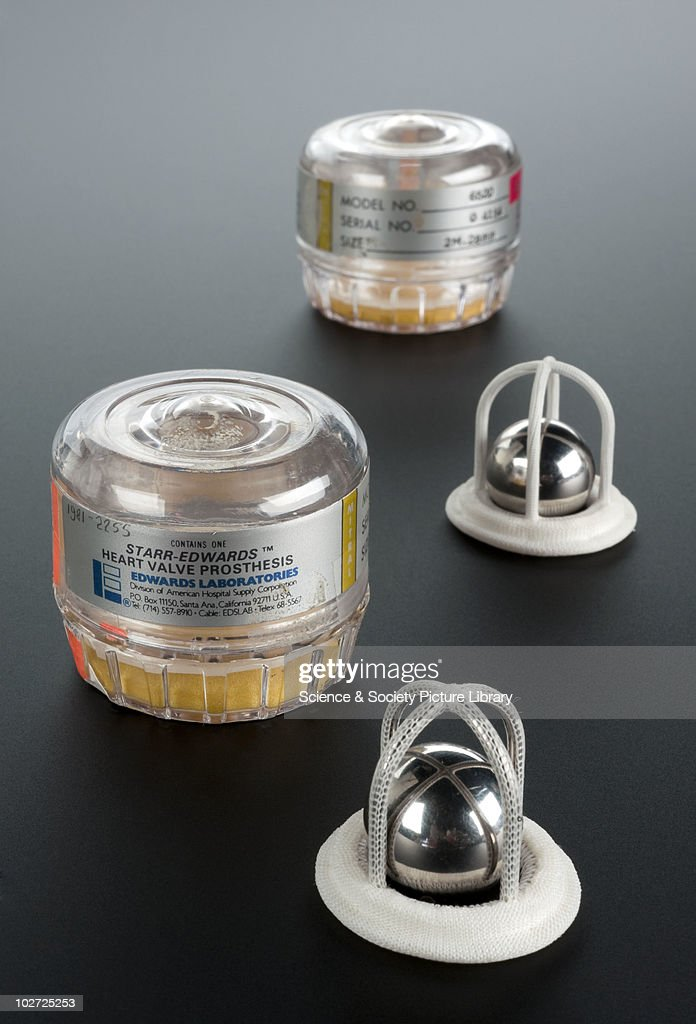 Two Starr-Edwards artificial cardiac valves, United States, 1978-1979. Two Starr-Edwards ball-type artificial mitral valves, plastic and metal, with sterile cases, made by Edwards Laboratories Inc., USA, c.1979.