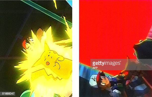 Two stills from the hugely popular Pocket Monster or Pokemon cartoon The hero of the animated program is Pikachu shown at top glowing with...