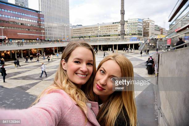 Two Stockholm blondes taking selfie