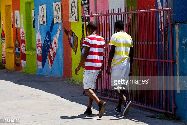 two striped jamaican men - jamaica stock pictures, royalty-free photos & images