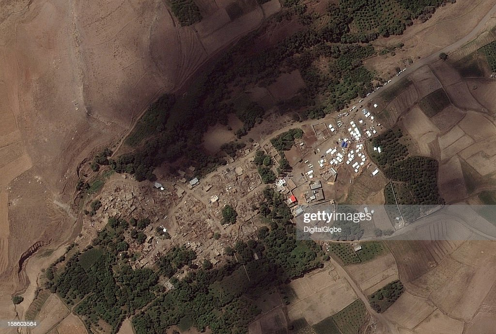 Two strong earthquakes hit northern Iran on August 11, 2012, causing severe damage to more than 100 rural villages in East Azerbaijan province. In the Hossein Abad village, shown here, at least half of the structures show significant damage. Tents have been placed around this remote village for housing and medical care.