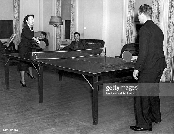 Two students playing pingpong in the recreation hall at Columbia University New York New York late 1930s