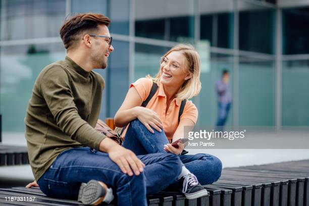 two students taking a break from studying - effort stock pictures, royalty-free photos & images