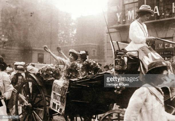 Two suffragettes celebrating their release from Holloway Prison London on 22 August 1908 Mary Leigh and Edith New were both imprisoned for their part...