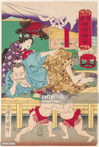 Two Sumo children in Action in front of Tachibana Muneshige, 1861. Private Collection. )