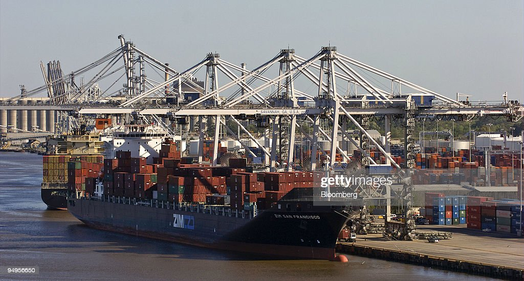 Two Super Post-Panamax cranes load and unload cargo from a