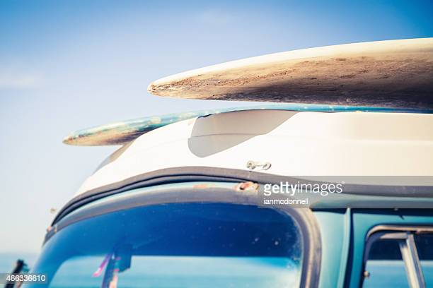 Two surfboards on top of a car