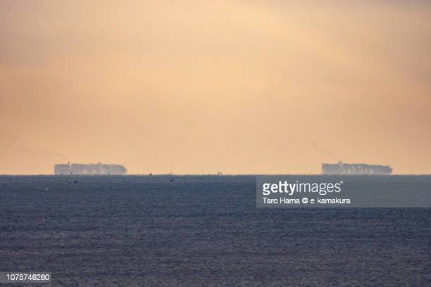 Two tankers sailing on Sagami Bay, Pacific Ocean in Japan in the morning
