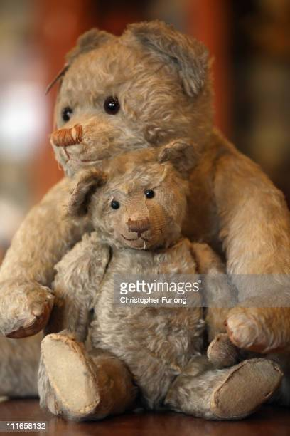 Two Teddy Bears from the 1920's sit on display in the museum section of the Merrythought Teddy Bear shop on April 5 2011 in Ironbridge England...