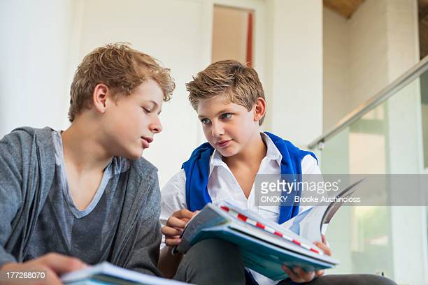 Two teenage boys studying in a school