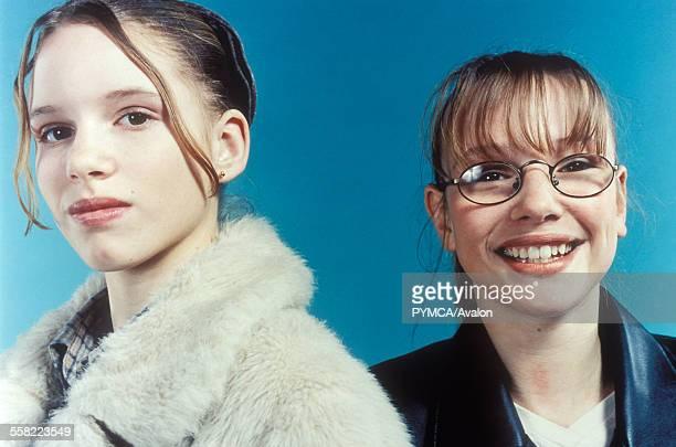Two teenage girls one a geek one wannabe chic London UK 2000s