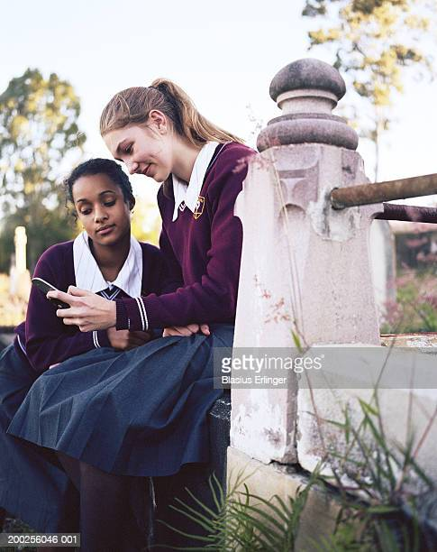 two teenage girls (15-17) wearing school uniforms reading text message - blasius erlinger stock pictures, royalty-free photos & images