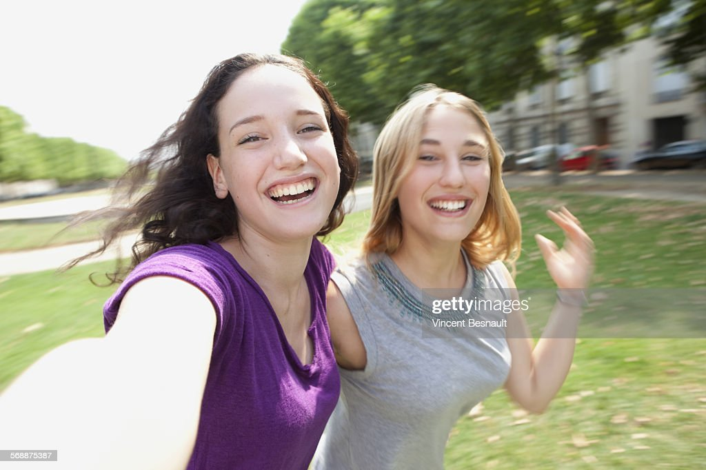 Two teenagers making a selfie : Stock Photo