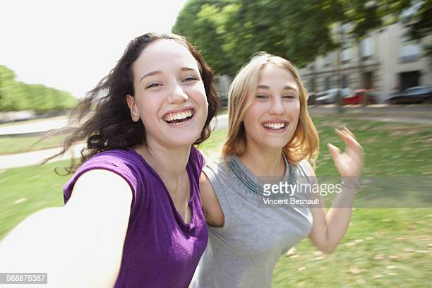 Two teenagers making a selfie