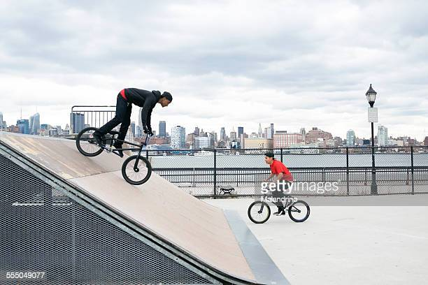 Two teenagers riding their BMX near New York City
