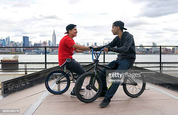 Two Teenagers riding their BMX near NYC