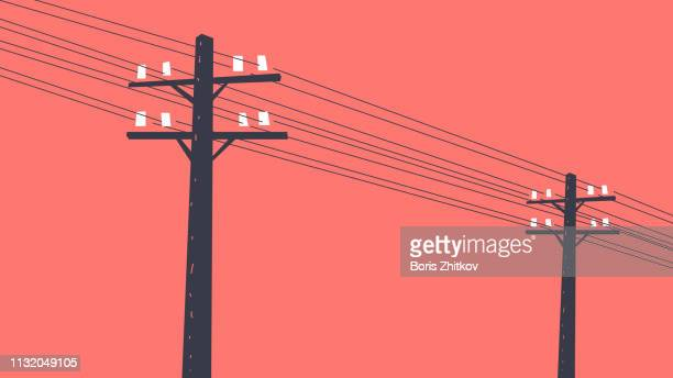 two telegraph poles - illustration stock pictures, royalty-free photos & images